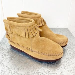 Minnetonka Fringe Back Zip Boots